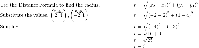 \begin{array}{cccc}\text{Use the Distance Formula to find the radius.}\hfill & & & \phantom{\rule{4em}{0ex}}r=\sqrt{{\left({x}_{2}-{x}_{1}\right)}^{2}+{\left({y}_{2}-{y}_{1}\right)}^{2}}\hfill \\ \text{Substitute the values.}\phantom{\rule{0.2em}{0ex}}\left(\stackrel{{x}_{1},{y}_{1}}{2,4}\right),\left(\stackrel{{x}_{2},{y}_{2}}{-2,1}\right)\hfill & & & \phantom{\rule{4em}{0ex}}r=\sqrt{{\left(-2-2\right)}^{2}+{\left(1-4\right)}^{2}}\hfill \\ \text{Simplify.}\hfill & & & \phantom{\rule{4em}{0ex}}r=\sqrt{{\left(-4\right)}^{2}+{\left(-3\right)}^{2}}\hfill \\ & & & \phantom{\rule{4em}{0ex}}r=\sqrt{16+9}\hfill \\ & & & \phantom{\rule{4em}{0ex}}r=\sqrt{25}\hfill \\ & & & \phantom{\rule{4em}{0ex}}r=5\hfill \end{array}