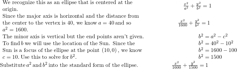 \begin{array}{cccccc}\begin{array}{c}\text{We recognize this as an ellipse that is centered at the}\hfill \\ \text{origin.}\hfill \end{array}\hfill & & & & & \phantom{\rule{2.1em}{0ex}}\frac{{x}^{2}}{{a}^{2}}+\frac{{y}^{2}}{{b}^{2}}=1\hfill \\ \begin{array}{c}\text{Since the major axis is horizontal and the distance from}\hfill \\ \text{the center to the vertex is 40, we know}\phantom{\rule{0.2em}{0ex}}a=40\phantom{\rule{0.2em}{0ex}}\text{and so}\hfill \\ {a}^{2}=1600.\hfill \end{array}\hfill & & & & & \phantom{\rule{1.1em}{0ex}}\frac{{x}^{2}}{1600}+\frac{{y}^{2}}{{b}^{2}}=1\hfill \\ \begin{array}{c}\text{The minor axis is vertical but the end points aren't given.}\hfill \\ \text{To find}\phantom{\rule{0.2em}{0ex}}b\phantom{\rule{0.2em}{0ex}}\text{we will use the location of the Sun. Since the}\hfill \\ \text{Sun is a focus of the ellipse at the point}\phantom{\rule{0.2em}{0ex}}\left(10,0\right),\phantom{\rule{0.2em}{0ex}}\text{we know}\hfill \\ c=10.\phantom{\rule{0.2em}{0ex}}\text{Use this to solve for}\phantom{\rule{0.2em}{0ex}}{b}^{2}.\hfill \end{array}\hfill & & & & & \phantom{\rule{4.4em}{0ex}}\begin{array}{c}{b}^{2}={a}^{2}-{c}^{2}\hfill \\ {b}^{2}={40}^{2}-{10}^{2}\hfill \\ {b}^{2}=1600-100\hfill \\ {b}^{2}=1500\hfill \end{array}\hfill \\ \text{Substitute}\phantom{\rule{0.2em}{0ex}}{a}^{2}\phantom{\rule{0.2em}{0ex}}\text{and}\phantom{\rule{0.2em}{0ex}}{b}^{2}\phantom{\rule{0.2em}{0ex}}\text{into the standard form of the ellipse.}\hfill & & & & & \frac{{x}^{2}}{1600}+\frac{{y}^{2}}{1500}=1\hfill \end{array}