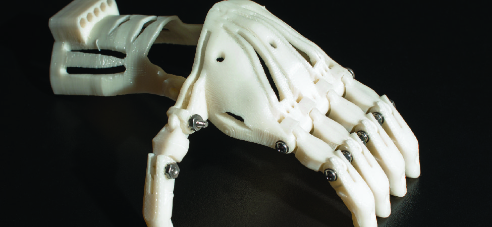 A photo of a prosthetic hand created by a 3D printer.
