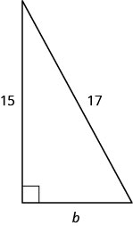 The figure is a right triangle with legs that are b units and 15 units, and a hypotenuse that is 17 units.