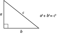 The figure is a right triangle with sides a and b, and a hypotenuse c with the formula, a squared plus b squared is equal to c squared.