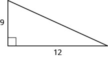 The figure is a right triangle with sides 9 units and 12 units.
