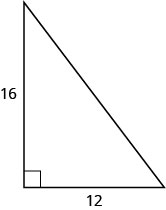 The figure is a right triangle with sides 16 units and 12 units.