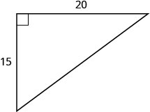 The figure is a right triangle with sides 15 units and 20 units.