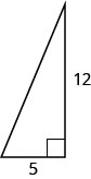 The figure is a right triangle with sides 5 units and 12 units.