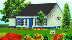 The figure is an illustration of a house that has a ladder against it. The ladder is 20 feet. Its base is positioned 6 feet from the house.
