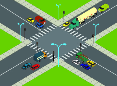 The figure is an illustration of two streets with their intersection shaded