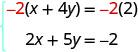 Minus 2 open parentheses x plus 4y close parentheses is minus 2 times 2. And, 2 x plus 5y is minus 2.