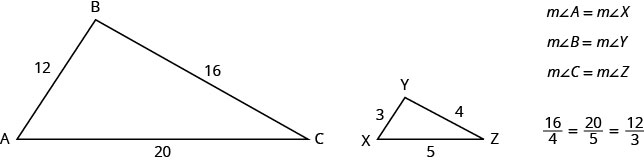 The first figure is triangle A B C with side A B 12 units long, side B C 16 units long, and side A C 20 units long. The second figure is triangle X Y Z with side X Y 3 units long, side Y X 4 units long, and side X Z is 5 units long. The measure of angle A is equal to the measure of angle X. The measure of angle B is equal to the measure of angle Y. The measure of angle C is equal to the measure of angle Z. 16 divided by 4 is equal to 20 divided 5 is equal to 12 divided by 3.