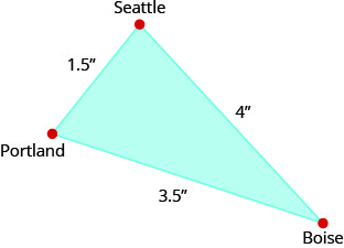 The figure is a triangle formed by Portland, Seattle, and Boise. The distance between Portland and Seattle is 1.5 inches. The distance between Seattle and Boise is 4 inches. The distance between Boise and Portland is 3.5 inches.