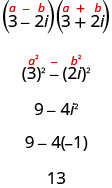 The quantity a minus b in parentheses times the quantity a plus b in parentheses is written above the expression showing the product of 3 minus 2 i in parentheses and 3 plus 2 i in parentheses. In the next line a squared minus b squared is written above the expression 3 squared minus the quantity 2 i in parentheses squared. Simplifying we get 9 minus 4 i squared. This is equal to 9 minus 4 times negative 1. The final result is 13.