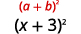 The factored expression, the square of a plus b, is shown over the square of the expression x + 3.