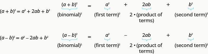 Quantity a plus b squared equals a squared plus 2 a b plus b2 where the binomial squared equals the first term squared plus 2 times the product of terms plus the second term squared. Quantity a minus b squared equals a squared minus 2 a b plus b2 where the binomial squared equals the first term squared minus 2 times the product of terms plus the second term squared.