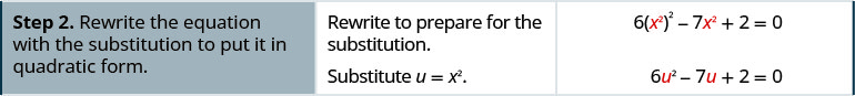 Step 2 is to rewrite the equation with the substitution to put it in quadratic form. Rewrite the equation to prepare for the substitution to show 6 times the square of x squared minus 7 times x squared plus 2 equals 0. Substitute u equals x squared to get the new equation 6 times u squared minus 7 u plus 2 equals 0.