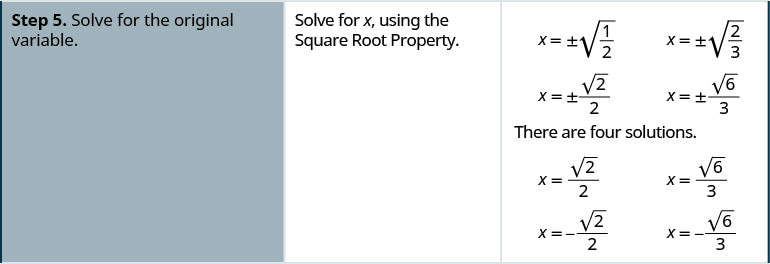 Step 5 is to solve for the original variable, so use the Square Root Property to solve for x. If x squared equals one half, then x equals the positive or negative square root of one half. Rationalize the denominator to see that x equals the positive or negative square root of 2 divided by 2. If x squared equals two thirds, then x equals the positive or negative square root of two thirds. Rationalize the denominator to see that x equals the positive or negative square root of 6 divided by 3.