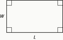 Image shows a rectangle. All four angles are marked as right angles. The longer, horizontal side is labeled L and the shorter, vertical side is labeled w.