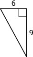 The figure is a right triangle with a base of 6 units and a height of 9 units.