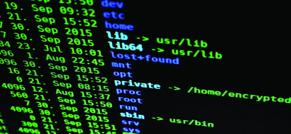 A photo of lines of code on a computer terminal screen.