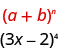 This figure shows how we identify a plus b to the power of n, in the pattern 3 x minus 2 to the power of 4.
