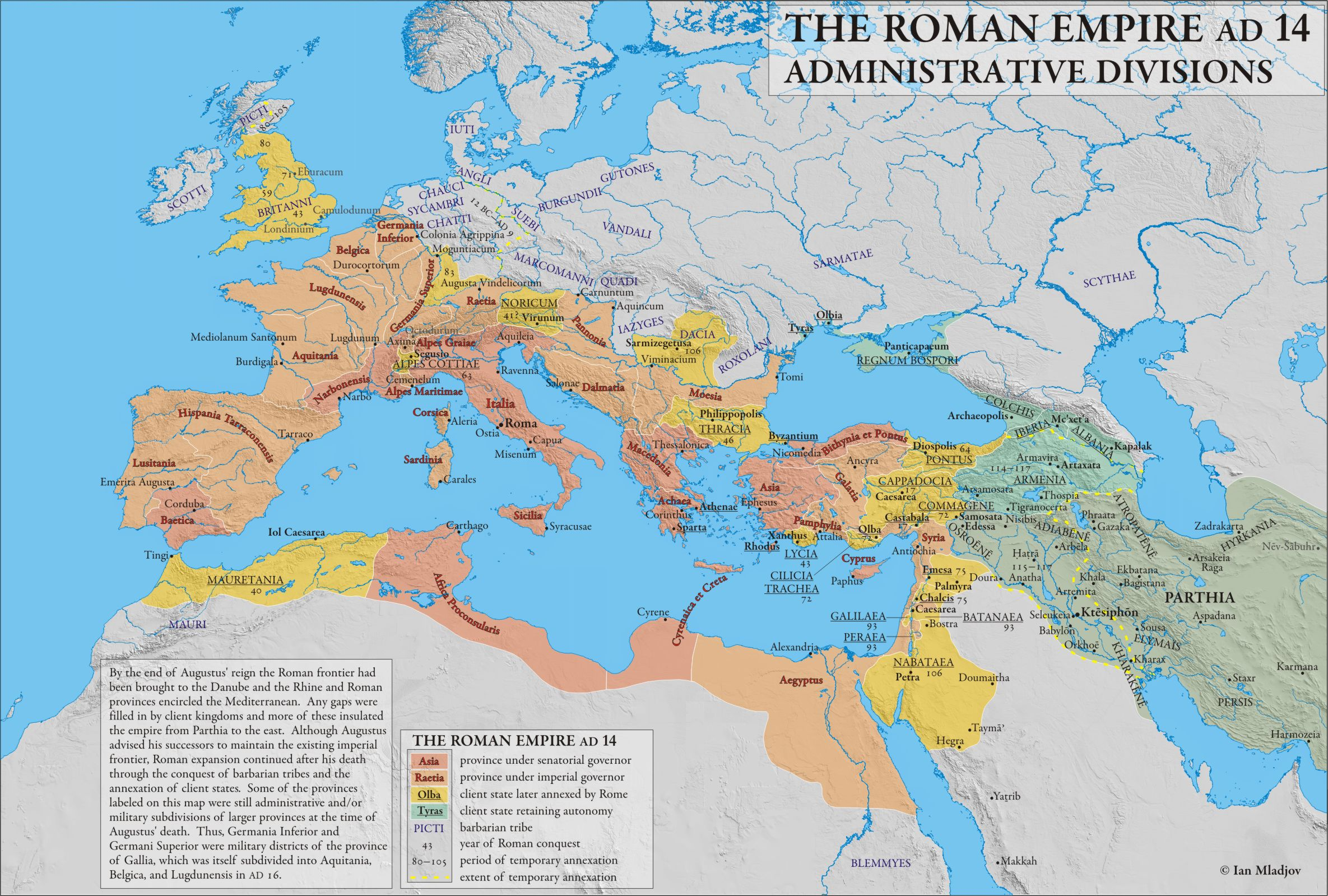 Administrative Divisions of the Roman Empire c. 14 CE (map ...