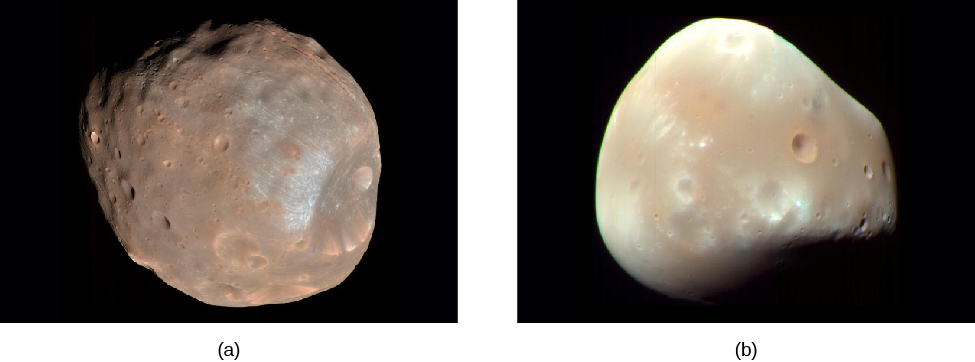 """Images of Phobos and Deimos. Panel (a), at left, shows Phobos, a brownish, """"lumpy"""" body with many impact craters. Panel (b), at right, shows the lighter colored Deimos. Deimos is much less spherical than Phobos, and has fewer craters."""