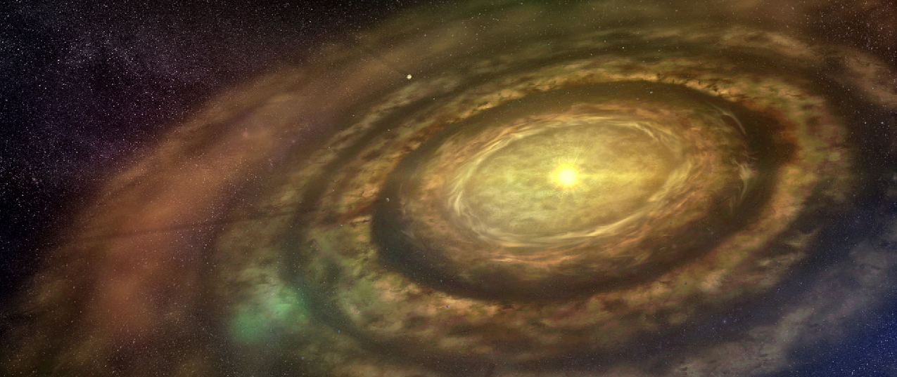 A photo of a disk of dust and gas around a new star.