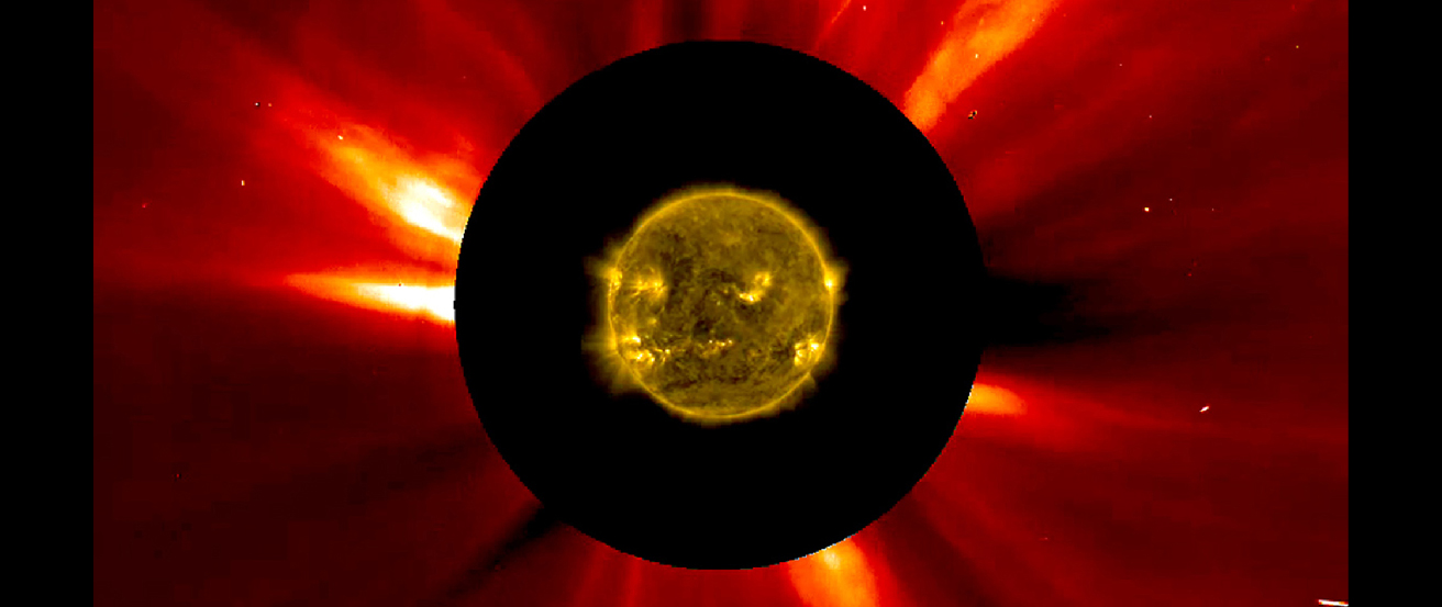 An image of the Sun. In the center is a satellite picture of the sun, which is surrounded by a thick black circle. Expanding all around the circle are the ray-like projections of coronal mass ejections.