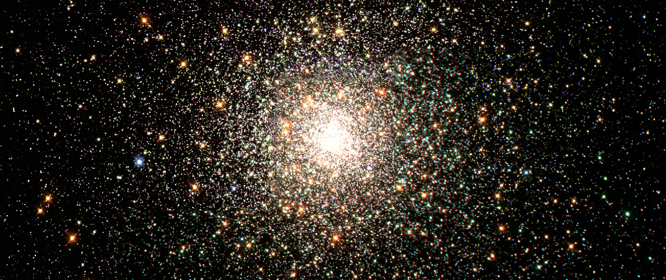 Image of the Globular Cluster M 80. Globular clusters are large, spherical clusters of stars that are so compact that the central regions typically appear to us as a single object. In this photograph, thousands of yellow and red stars surround the dense center of M 80.
