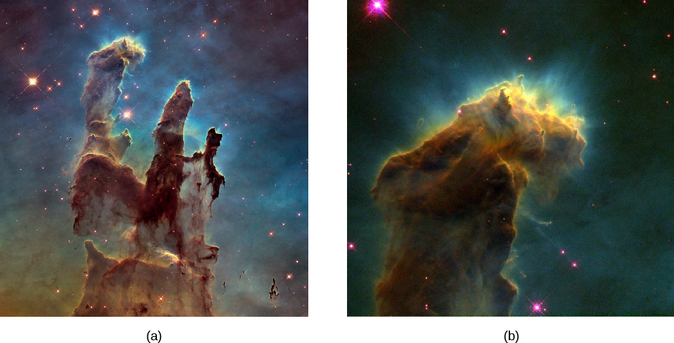 Two Images of the Eagle Nebula (M16). Figure a shows the central region of the nebula, with two huge columns gas and dust silhouetted against the bright nebulosity in the background. Figure b shows a close-up of one of the columns of gas and dust. Along the bright portion of the top edge of the column, thin wisps of gas are seen radiating off and away from the pillar. This structure is known as an evaporating gas globule.