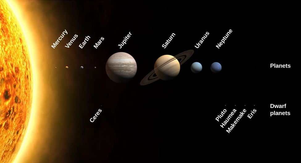 Diagram of the Solar System. In this image, the Sun, the planets, and some dwarf planets are shown with their sizes drawn to scale. At left a small portion of the immense disk of the Sun is shown. The planets and dwarf-planets are drawn in two rows in their relative positions from the Sun. The upper row shows the major planets from left to right: Mercury, Venus, Earth, Mars, Jupiter, Saturn, Uranus, and Neptune. In the lower row are drawn a few selected dwarf-planets. From left to right: Ceres (in the asteroid belt, and drawn below Mars), then Pluto, Haumea, Makemake, and Eris below and to the right of Neptune.
