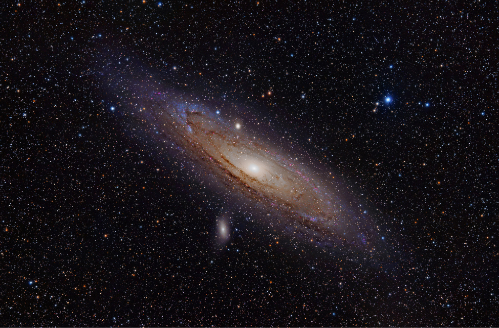 Image of the Andromeda Galaxy. This spiral galaxy is seen almost edge-on as an oval patch of light with a very bright center (nucleus), and dark bands of dust along its outer edges.