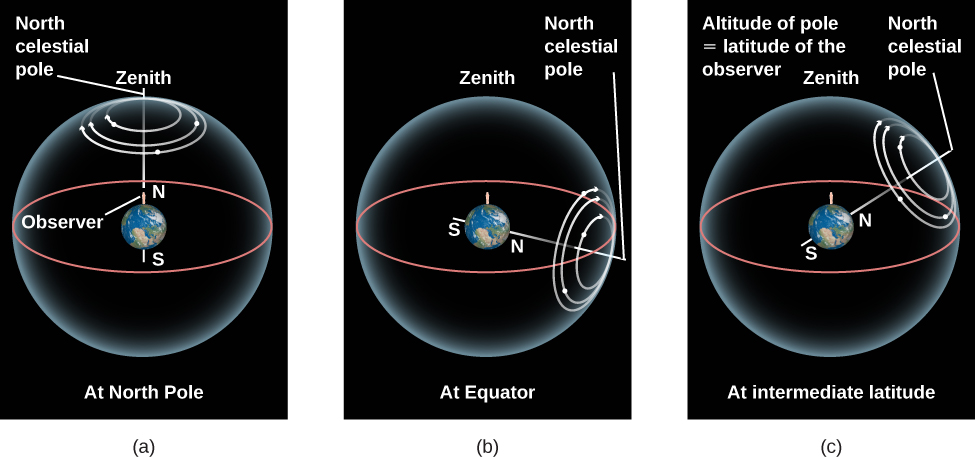 The Apparent Motion of Stars at Different Latitudes. Panel (a) depicts the Earth with the North and South Poles vertically aligned. The Earth is embedded in a sphere representing the sky. An observer is drawn standing on the North Pole. Both the zenith and North celestial pole are labeled on the sky directly above the observer. The horizon of this observer, drawn in red, is also projected onto the sky. White circular arrows are dawn counter-clockwise around the zenith/North celestial pole indicating the apparent motion of stars from the observer's vantage point. In this case stars circle the North celestial pole and never set below the horizon. Panel (b) depicts the Earth with the North and South Poles horizontally aligned. The Earth is embedded in a sphere representing the sky. An observer is drawn standing on the Equator. The zenith is labeled on the sky directly above the observer. The horizon of this observer, drawn in red, is projected onto the sky. The North celestial pole is labeled and lies on the observer's horizon. White circular arrows are dawn counter-clockwise around the North celestial pole indicating the apparent motion of stars from the observer's vantage point. In this case all stars rise in the East and set in the West. Panel (c) depicts the Earth with the North and South Poles aligned at a 45-degree angle from horizontal. The Earth is embedded in a sphere representing the sky. An observer is drawn standing in the Northern Hemisphere. The zenith is labeled on the sky directly above the observer. The horizon of this observer, drawn in red, is projected onto the sky. White circular arrows are dawn counter-clockwise around the North celestial pole indicating the apparent motion of stars from the observer's vantage point. In this case stars close to the celestial poles do not set, those farther from the celestial poles rise in the East and set in the West.