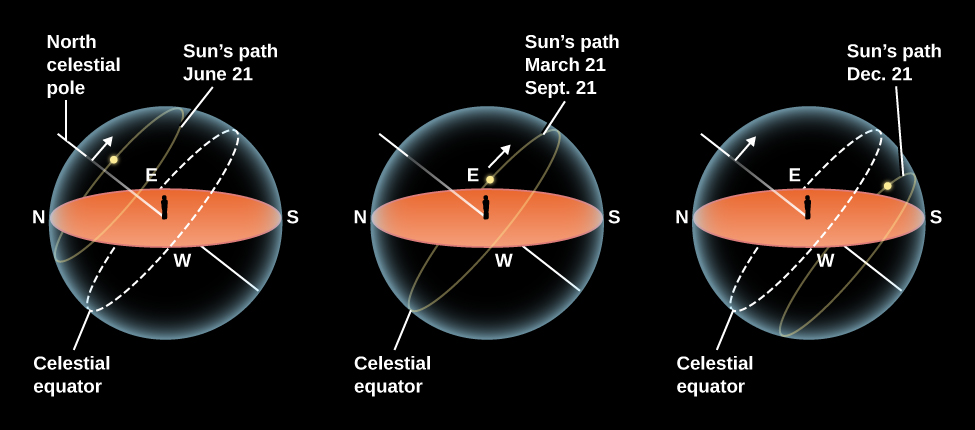 """The Sun's Path in the Sky for Different Seasons. In each of these three illustrations, a beige ellipse represents the ground and horizon of an observer standing in the center, and is surrounded by a semi-transparent sphere representing the sky. North is to the left, and west is at the bottom of the horizon ellipse. A yellow line, labeled """"North celestial pole"""", is drawn from the feet of the observer toward the upper left. A yellow dashed ellipse, labeled """"Celestial equator"""", is drawn on the sky sphere so that it touches the horizon at the points labeled """"W"""" (west) and """"E"""" (east) and is tilted to be perpendicular to the celestial pole. The left-most illustration shows the """"Sun's path June 21"""", indicated by a faint yellow ellipse. The Sun rises and sets above the celestial equator. The central illustration shows the """"Sun's path March 21 and Sept. 21"""". The Sun rises and sets along the celestial equator. Finally, the right-most illustration shows the """"Sun's path Dec. 21"""", indicated by a faint yellow ellipse. The Sun rises and sets below the celestial equator."""
