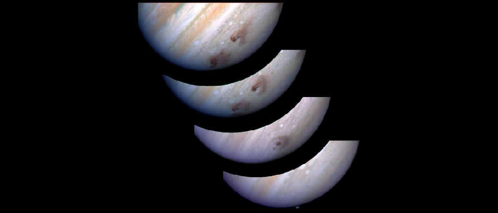 Hubble Space Telescope Images of Jupiter with Huge Dust Clouds. Four separate images of Jupiter are combined into a single frame showing the effects of the collision of Comet Shoemaker–Levy 9. The bottom-most image taken at the time of impact shows Jupiter as yet undisturbed by the impact. Next, a large bulls-eye shaped dark cloud appears at the impact site several hours later. In the next image the cloud begins to disperse. Finally, in the upper-most image taken 5 days after impact, the cloud has dispersed even further.