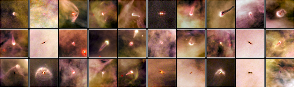 A Photographic Atlas of Planetary Nurseries in the Orion Nebula. These Hubble Space Telescope images show embedded circumstellar disks orbiting very young stars. Each is seen from a different angle. Some are energized to glow brightly by the light of a nearby star, while others are dark and seen in silhouette against the bright glowing gas of the Orion nebula.