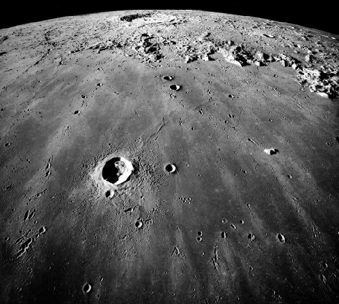 Photograph of a Lunar Mare. Image of Mare Imbrium taken from Lunar orbit showing the smooth, little cratered surface typical of maria.
