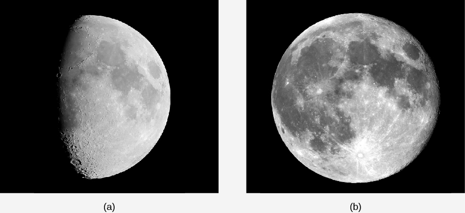 Photographs of the Moon at Different Phases. In figure (a) the Moon is illuminated from the right. Shadows from crater walls stand out sharply along the terminator, and the contrast between the highlands and maria is low. Figure (b) shows the full Moon. No shadows are seen, and the contrast between the highlands and maria is high.
