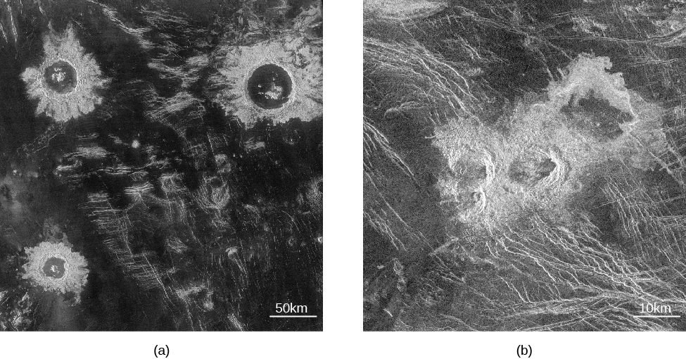 """Radar image of impact craters on Venus. In panel (a), on the left, three impact craters are seen surrounded by ejecta fields. The scale at the lower right reads """"50 k m,"""" which is about the size of the largest crater in the top right of the photograph. In panel (b), on the right, the triple crater and its irregular debris field lie at the center of the image. The scale at lower right reads """"10 k m."""""""