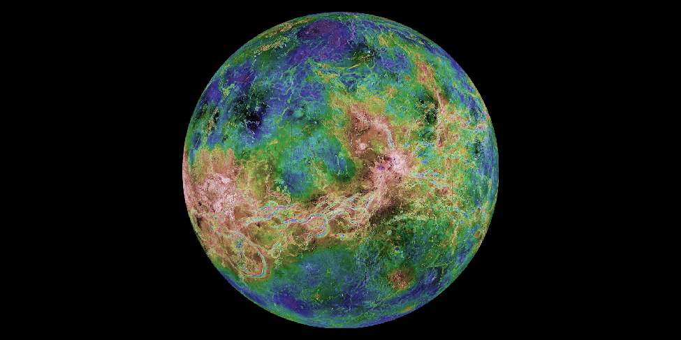 False-color radar map of Venus. The hemisphere shown in this image has lower regions that lie at higher latitudes (top and bottom), and highlands in the equatorial zone (center).