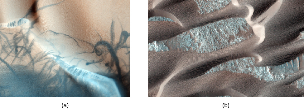 Dust devil tracks and sand dunes. In panel (a), on the left, the paths of dust devils are seen as dark, twisted streaks on a red, sandy surface. In panel (b), on the right, a portion of a much larger area of sand dunes is shown which resembles the great dunes in the Sahara.