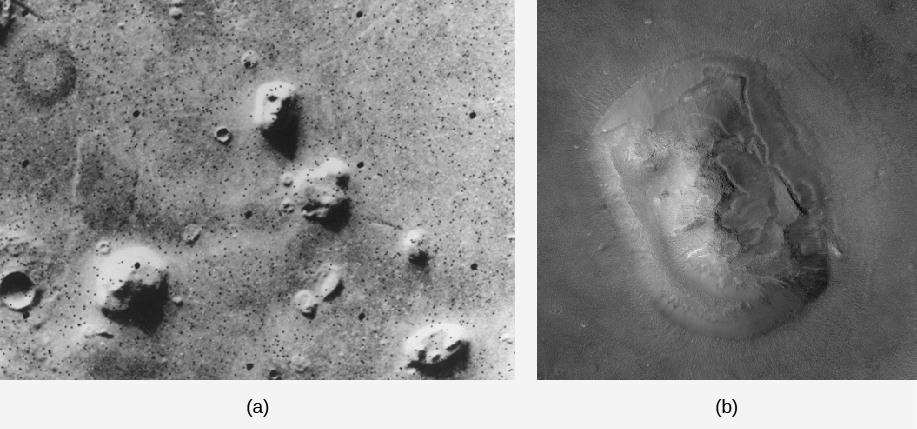 "The face on Mars. The image in panel (a), on the left, shows the wide field Viking orbiter image. The ""face"" is at the top center of the image with sunlight coming in from the top of the image. The strong shadows on this feature suggest a human-like face. In panel (b), on the right, the feature is seen at better resolution and under different lighting conditions. The resemblance to a face is no longer evident."