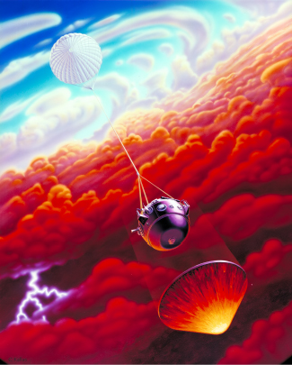 Artist's depiction of the Galileo Probe entering Jupiter's atmosphere. At upper left the parachute is seen, connected by a cable to the spherical-shaped probe near the center of the illustration. At lower right, the protective heat shield falls ahead of the probe, protecting it from the heat of entry.