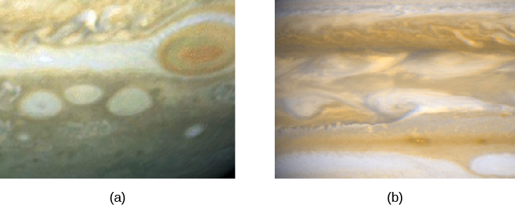 Images of Jupiter's Turbulent Atmosphere. Panel (a) shows a region near the Great Red Spot, at upper right. Below and to the left of the Spot are three white vortices, smaller but similar in shape to the GRS. Panel (b) shows a turbulent region near the equatorial cloud bands, which looks like cream being stirred into a cup of coffee.