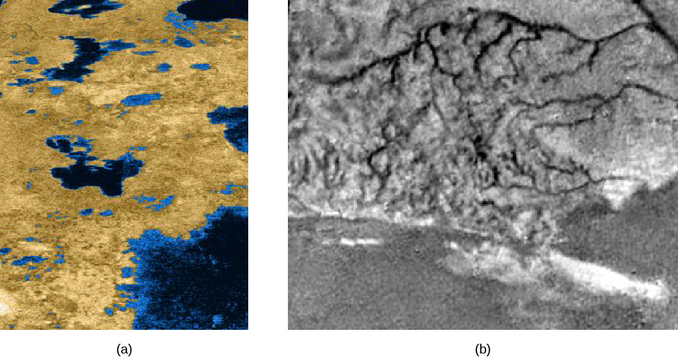 Two overhead images of lakes on Titan. The image on the left shows a number of liquid lakes on Titan's surface. Rough terrain surrounds the lakes. The image on the right shows an area of Titan's surface with high ridges and narrow erosion channels that resemble rivers.