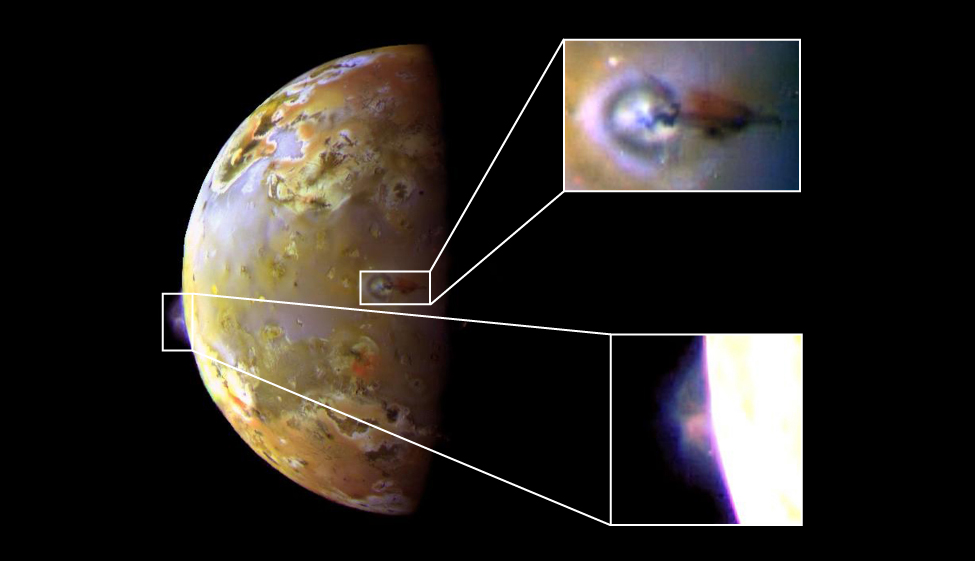 On the left is an image of volcanic eruption on Io. On the right are two smaller close-up images of volcanic eruption.
