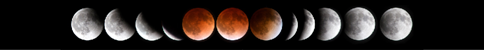 The Shadow of the Earth During a Lunar Eclipse. In this multiple exposure image of a full Lunar eclipse, the Earth's shadow begins to cover the full Moon starting at left. Moving to the right, the circular shadow of the Earth gradually covers the Moon. At center, the mid-point of the eclipse is seen. The Moon appears dull red due to sunlight refracting through Earth's thin atmosphere toward the Moon. In the final stages of the eclipse, the Earth's shadow gradually leaves the Moon toward the right.