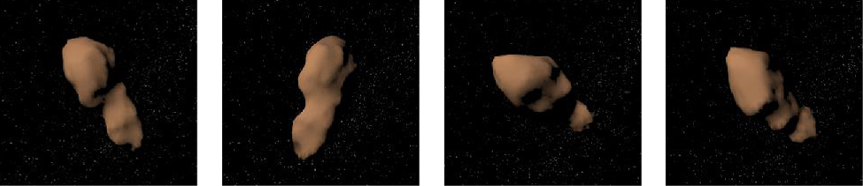Rotation of NEA Toutatis. The rotation of this elongated asteroid can be seen in this four panel image.