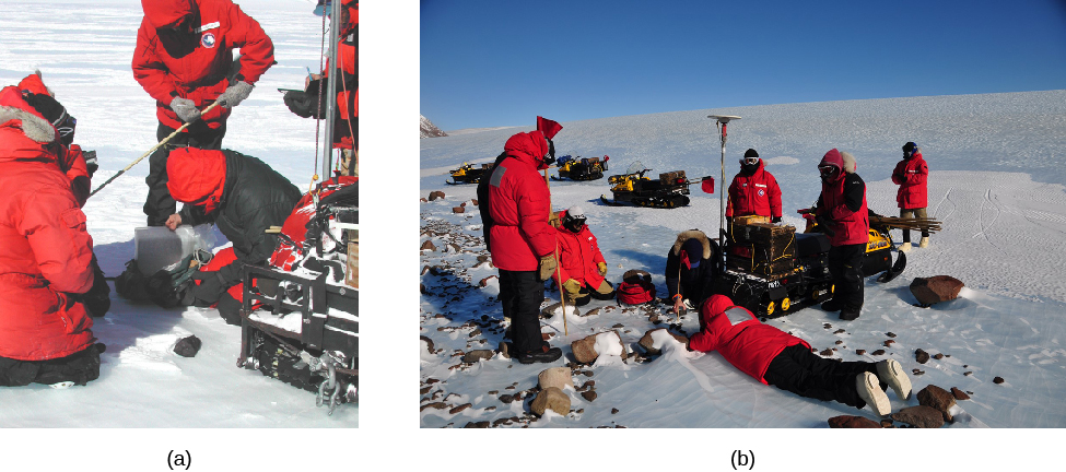 Image A is a photo of the US Antarctic Search for Meteorites digging a meteorite out of the snow. Image B is another photo of the scientists recovering the meteorite at an angle that shows more of their equipment.