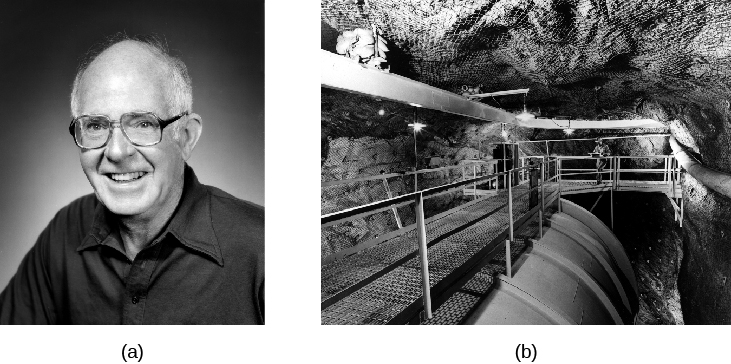 Left: photograph of Raymond Davis. Right: photograph of Davis' neutrino detection experiment in a gold mine in South Dakota. A portion of the tank is seen with an access walkway on top of the tank.