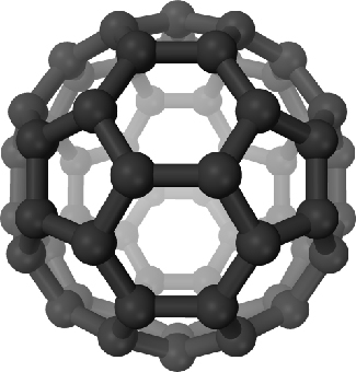 "Artist's 3D Rendering of a Fullerene C60 Molecule. Carbon atoms are shown as black spheres, and the chemical bonds between them shown as black cylinders. The shape of the ""buckyball"" is similar to that of a soccer ball; alternating pentagons and hexagons arranged into a hollow sphere."